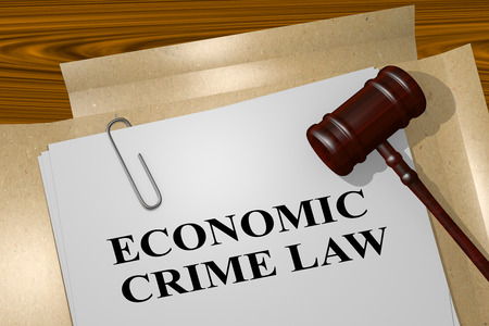 tax attorney: 3D illustration of ECONOMIC CRIME LAW title on legal document