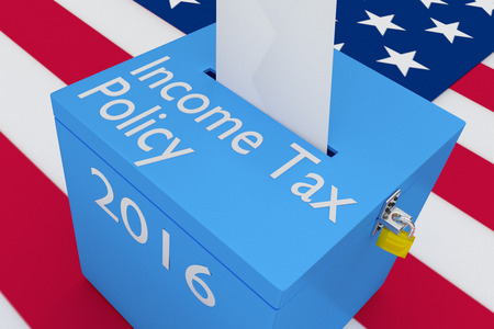 3D illustration of Income Tax Policy, 2016 scripts and on ballot box, with US flag as a background. Stock Photo