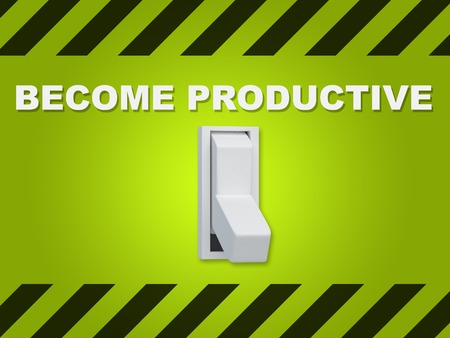 inducement: 3D illustration of BECOME PRODUCTIVE title above an electric switch on green wall Stock Photo