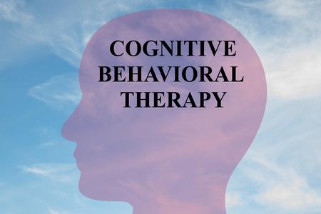 頭のシルエットは、曇り空の背景としての「認知行動療法」タイトルのイラストをレンダリングします。