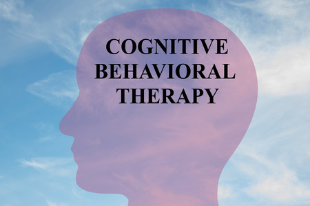 Render illustration of COGNITIVE BEHAVIORAL THERAPY title on head silhouette, with cloudy sky as a background.