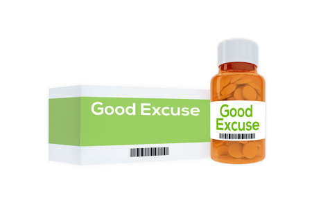 3D illustration of Good Excuse title on pill bottle, isolated on white. Stock Photo