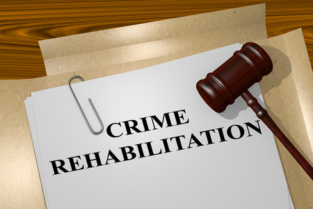 probation: 3D illustration of CRIME REHABILITATION title on legal document Stock Photo