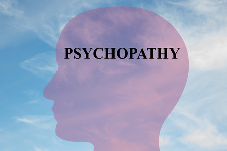 ambivalence: Render illustration of PSYCHOPATHY title on head silhouette, with cloudy sky as a background.