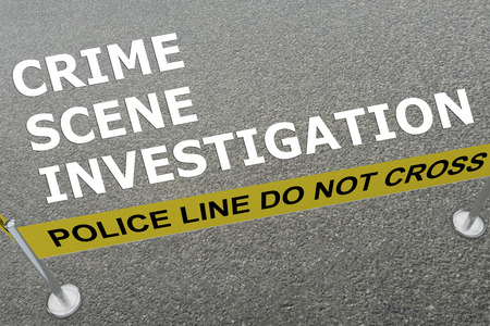 fatality: 3D illustration of CRIME SCENE INVESTIGATION title on the ground in a police arena