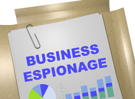 undercover: 3D illustration of BUSINESS ESPIONAGE title on business document