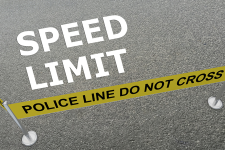 traffic violation: 3D illustration of SPEED LIMIT title on the ground in a police arena Stock Photo