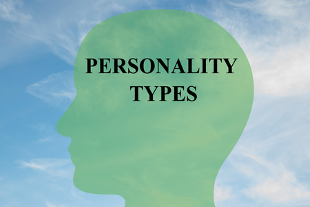 personality: Render illustration of PERSONALITY TYPES script on head silhouette, with cloudy sky as a background.