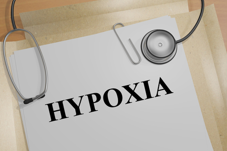 snore: 3D illustration of HYPOXIA title on a document Stock Photo