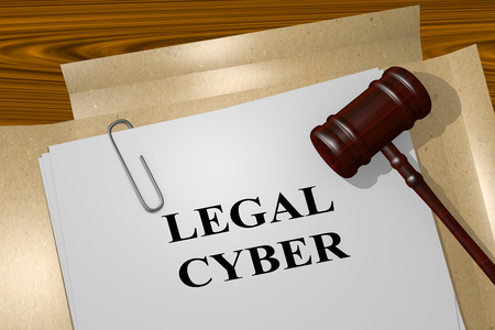 sue: 3D illustration of LEGAL CYBER title on legal document