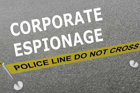 espionage: 3D illustration of CORPORATE ESPIONAGE title on the ground in a police arena
