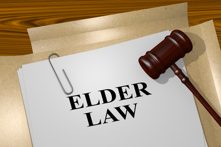 3D illustration of ELDER LAW title on legal document