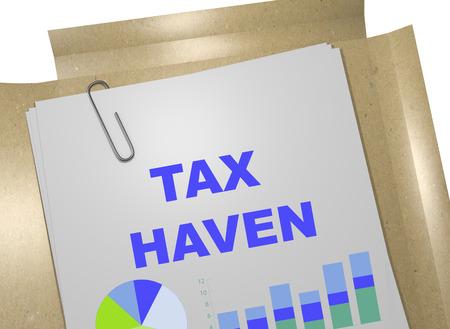 economic interest: 3D illustration of TAX HAVEN title on business document