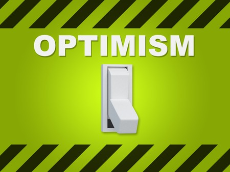 3D illustration of OPTIMISM title above an electric switch on green wall