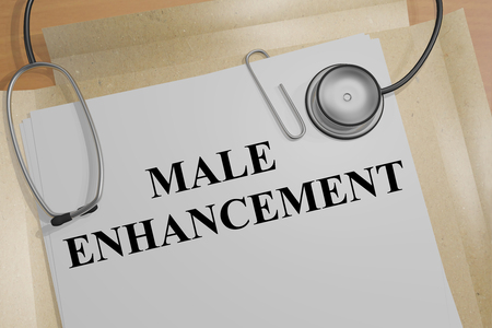 3D illustration of MALE ENHANCEMENT title on a document