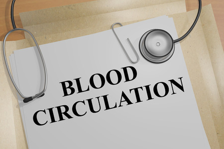 coagulate: 3D illustration of BLOOD CIRCULATION title on a document