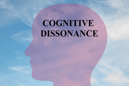 Render illustration of COGNITIVE DISSONANCE title on head silhouette, with cloudy sky as a background.