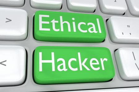 """Illustration 3D d'un clavier d'ordinateur avec l'impression """"Ethical Hacker"""" sur deux boutons verts adjacents Banque d'images - 65732992"""