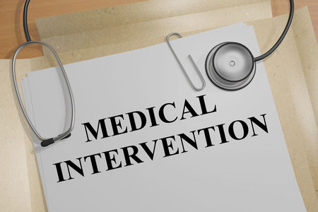 intervention: 3D illustration of MEDICAL INTERVENTION title on a document