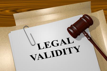 """validez: Ilustración 3D del título de """"validez legal"""" en el documento legal Foto de archivo"""