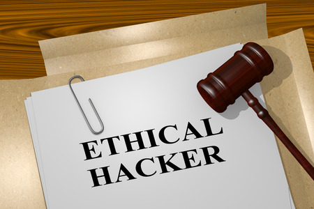 executing: 3D illustration of ETHICAL HACKER title on legal document Stock Photo
