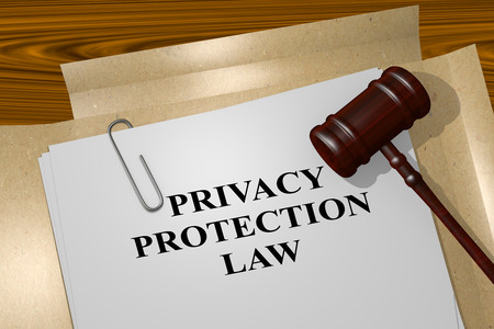 personal data privacy issues: 3D illustration of PRIVACY PROTECTION LAW title on legal document Stock Photo