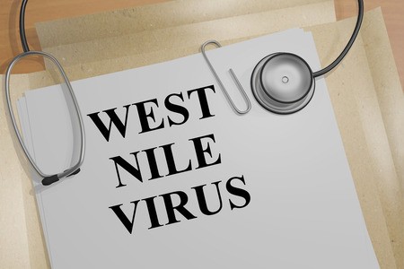 3D illustration of WEST NILE VIRUS title on a document