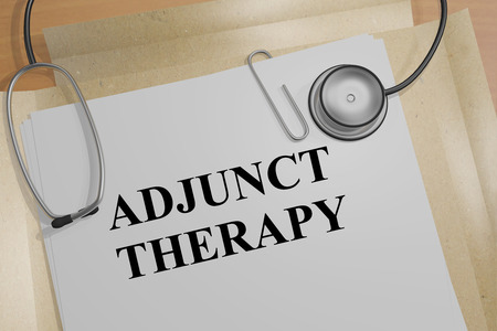 malady: 3D illustration of ADJUNCT THERAPY title on a document Stock Photo