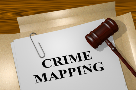 mapping: 3D illustration of CRIME MAPPING title on legal document Stock Photo