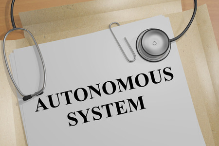 3D illustration of AUTONOMOUS SYSTEM title on a document Stock Photo