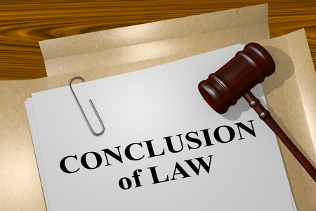 defendant: 3D illustration of CONCLUSION of LAW title on legal document Stock Photo