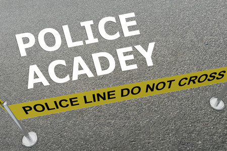 pledge: 3D illustration of POLICE ACADEY title on the ground in a police arena