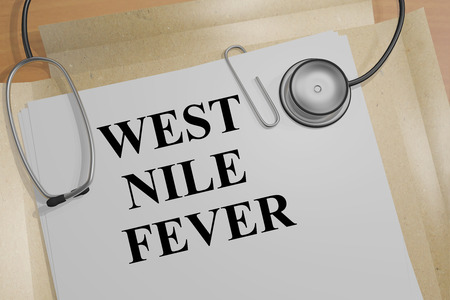 3D illustration of WEST NILE FEVER title on a document