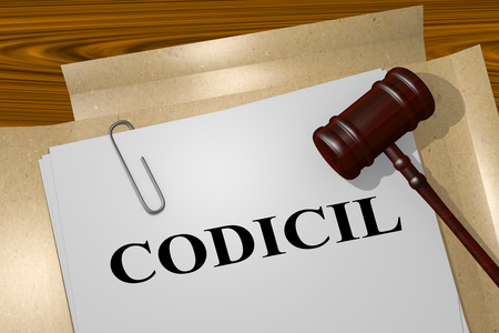 3D illustration of CODICIL title on legal document Imagens