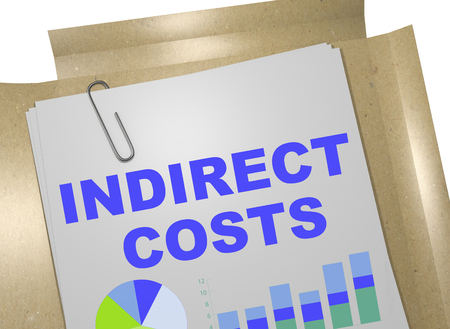 tax policy: 3D illustration of INDIRECT COSTS title on business document