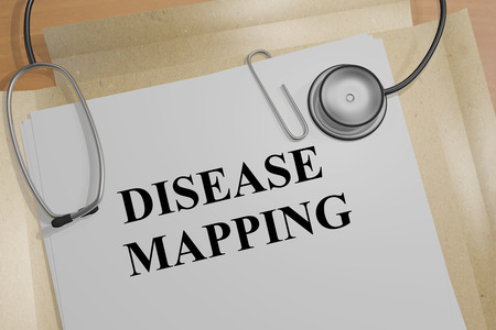 mapping: 3D illustration of DISEASE MAPPING title on a document