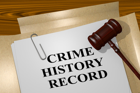 3D illustration of CRIME HISTORY RECORD title on legal document