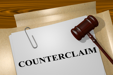 prosecute: 3D illustration of COUNTERCLAIM title on legal document