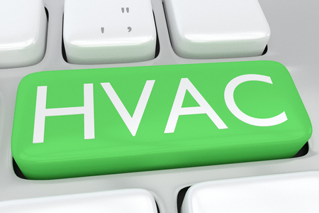 3D illustration illustration of computer keyboard with the print HVAC on a green button