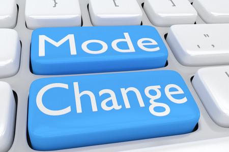 2 つの隣接する淡い青色のボタン上のスクリプト「モードの変更」にコンピューターのキーボードの 3 D イラストレーション 写真素材 - 65735242