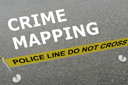 cyber war: 3D illustration of CRIME MAPPING title on the ground in a police arena Stock Photo