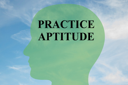 proficiency: Render illustration of PRACTICE APTITUDE script on head silhouette, with cloudy sky as a background. Stock Photo