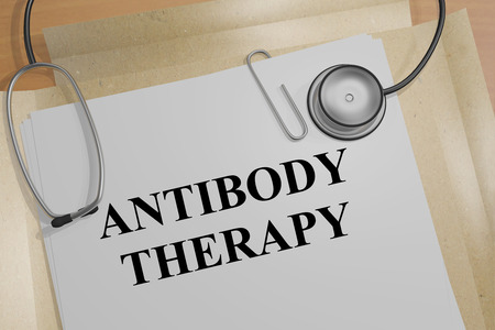 cytotoxic: 3D illustration of ANTIBODY THERAPY title on a document Stock Photo