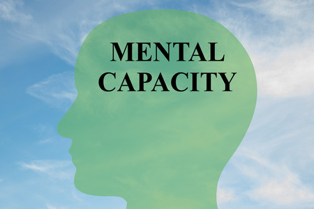 special education: Render illustration of MENTAL CAPACITY script on head silhouette, with cloudy sky as a background.