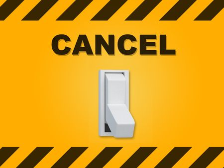 3D illustration of CANCEL title above an electric switch on yellow wall Stock Photo