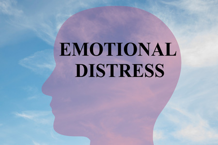 morose: Render illustration of EMOTIONAL DISTRESS title on head silhouette, with cloudy sky as a background.