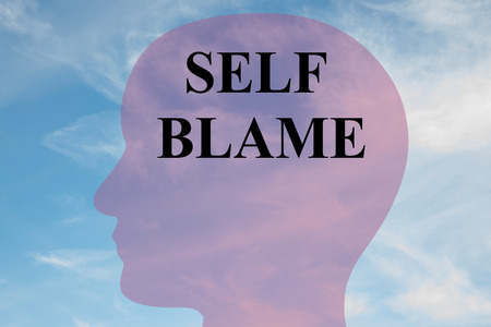 blame: Render illustration of SELF BLAME title on head silhouette, with cloudy sky as a background. Stock Photo