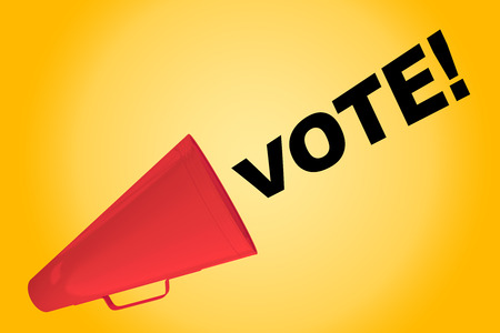 3D illustration of VOTE! title flowing from a loudspeaker Stock Photo
