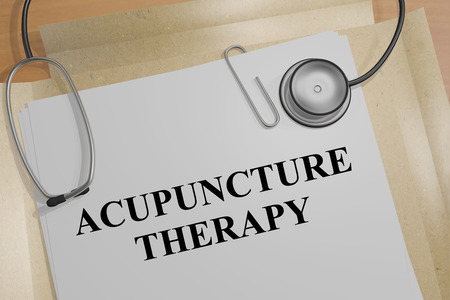 stimulate: 3D illustration of ACUPUNCTURE THERAPY title on a document Stock Photo