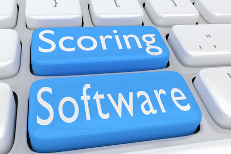 scoring: 3D illustration of computer keyboard with the script Scoring Software on two adjacent pale blue buttons Stock Photo